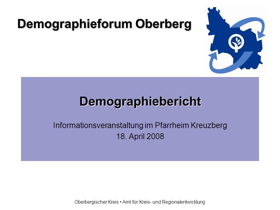 Demographieforum Oberberg Oberbergischer Kreis Amt für Kreis- und Regionalentwicklung Demographiebericht Informationsveranstaltung im Pfarrheim Kreuzberg 18.