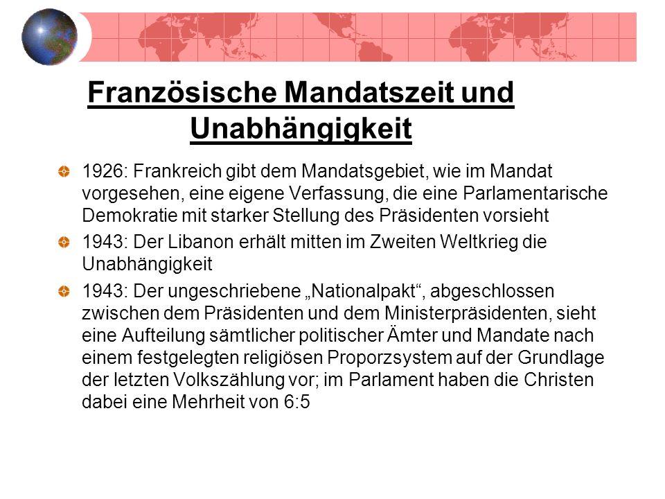 Französische Mandatszeit und Unabhängigkeit 1926: Frankreich gibt dem Mandatsgebiet, wie im Mandat vorgesehen, eine eigene Verfassung, die eine Parlam