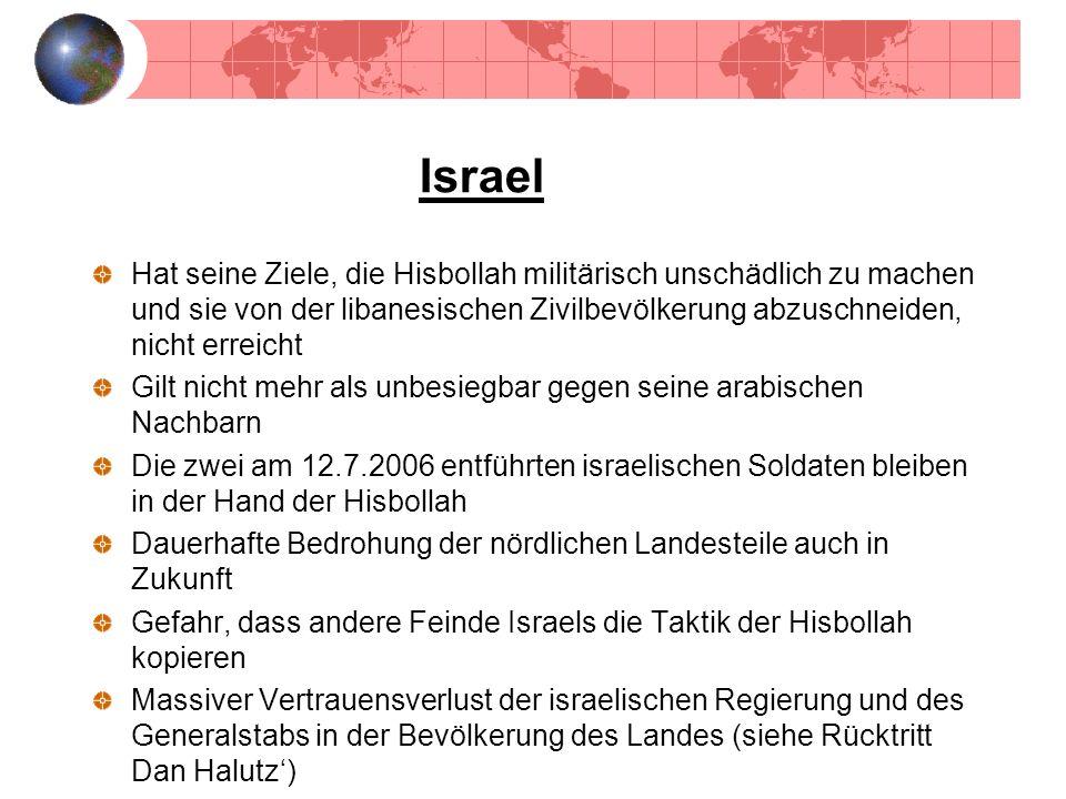Israel Hat seine Ziele, die Hisbollah militärisch unschädlich zu machen und sie von der libanesischen Zivilbevölkerung abzuschneiden, nicht erreicht G