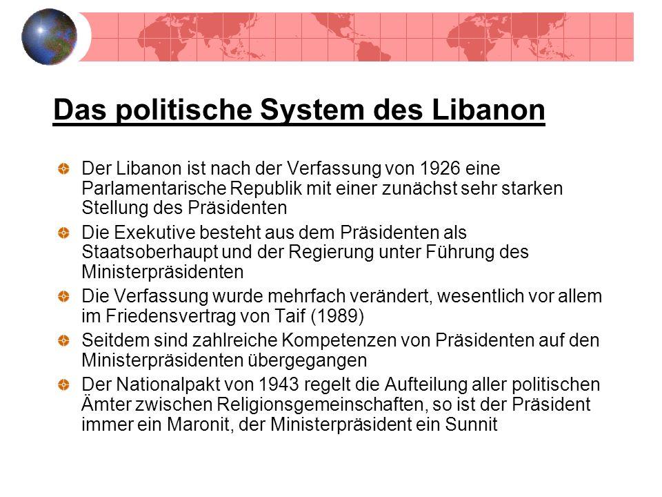 Das politische System des Libanon Der Libanon ist nach der Verfassung von 1926 eine Parlamentarische Republik mit einer zunächst sehr starken Stellung