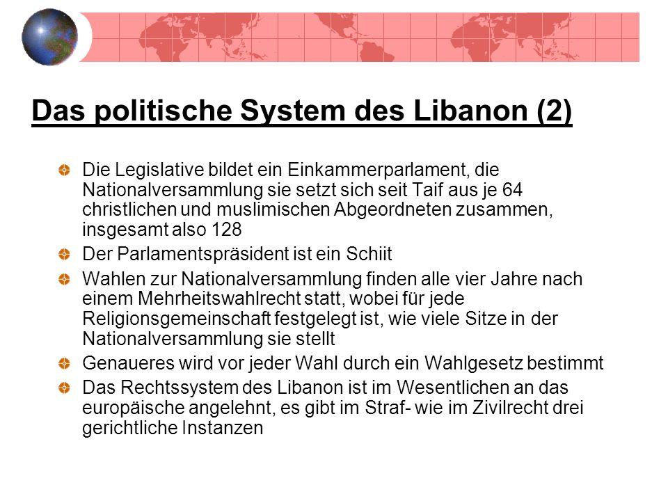 Das politische System des Libanon (2) Die Legislative bildet ein Einkammerparlament, die Nationalversammlung sie setzt sich seit Taif aus je 64 christ