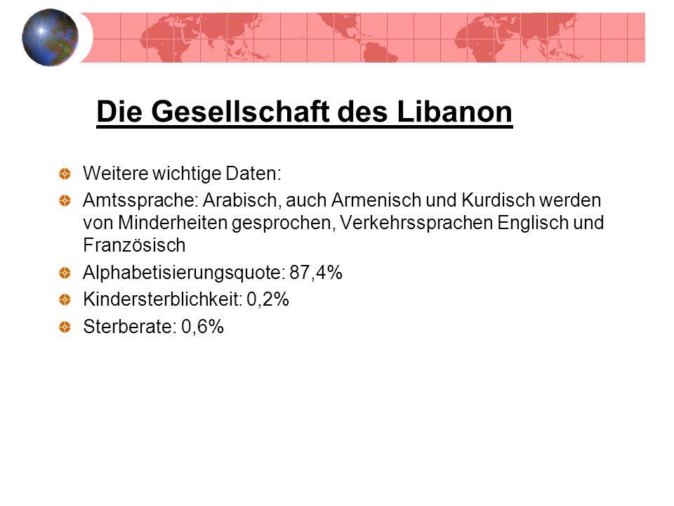 Die Gesellschaft des Libanon Weitere wichtige Daten: Amtssprache: Arabisch, auch Armenisch und Kurdisch werden von Minderheiten gesprochen, Verkehrssp