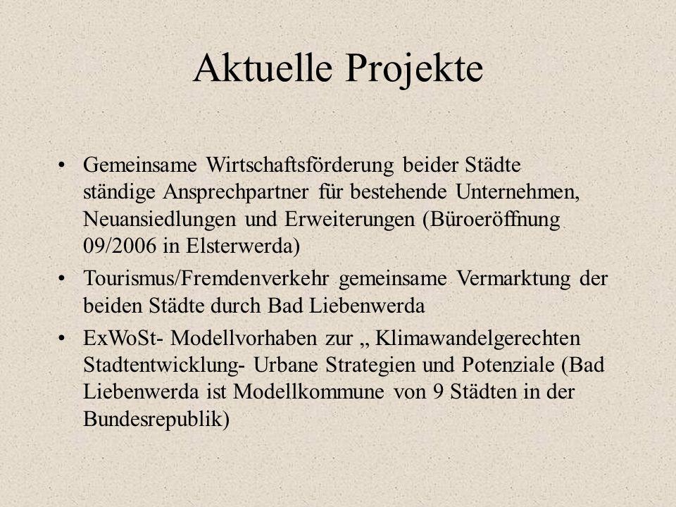 Januar 2006 Abschluss eines Kooperationsvertrages der Städte Bad Liebenwerda und Elsterwerda zum Erhalt und zur Weiterentwicklung des gemeinsamen Mitt