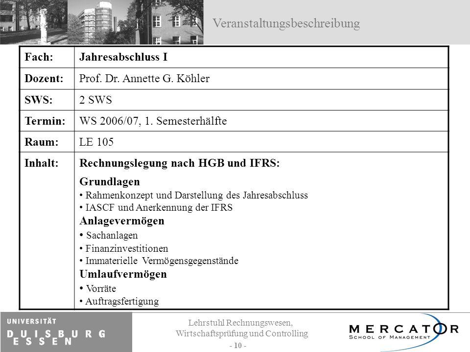 Lehrstuhl Rechnungswesen, Wirtschaftsprüfung und Controlling - 10 - Fach:Jahresabschluss I Dozent:Prof. Dr. Annette G. Köhler SWS:2 SWS Termin:WS 2006