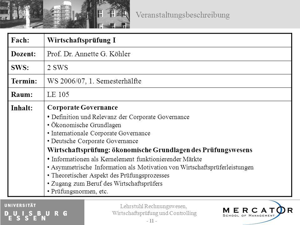 Lehrstuhl Rechnungswesen, Wirtschaftsprüfung und Controlling - 11 - Fach:Wirtschaftsprüfung I Dozent:Prof. Dr. Annette G. Köhler SWS:2 SWS Termin:WS 2