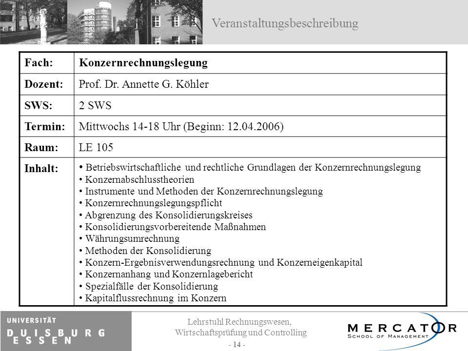 Lehrstuhl Rechnungswesen, Wirtschaftsprüfung und Controlling - 14 - Fach:Konzernrechnungslegung Dozent:Prof. Dr. Annette G. Köhler SWS:2 SWS Termin:Mi