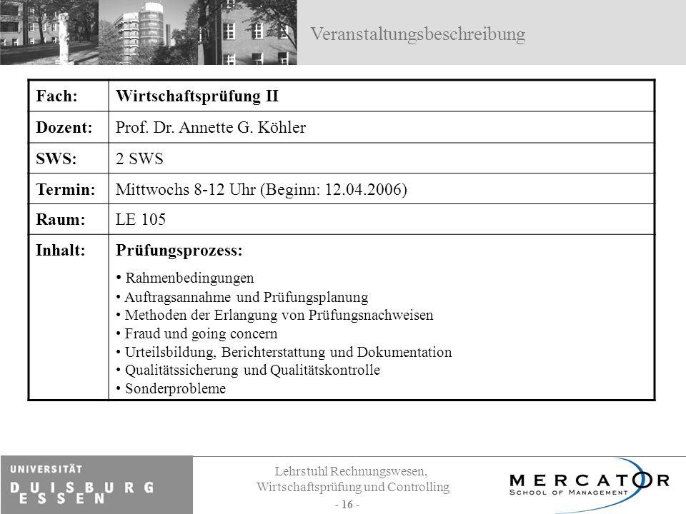 Lehrstuhl Rechnungswesen, Wirtschaftsprüfung und Controlling - 16 - Fach:Wirtschaftsprüfung II Dozent:Prof. Dr. Annette G. Köhler SWS:2 SWS Termin:Mit