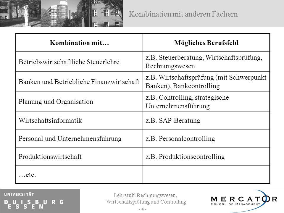 Lehrstuhl Rechnungswesen, Wirtschaftsprüfung und Controlling - 4 - Kombination mit anderen Fächern Kombination mit…Mögliches Berufsfeld Betriebswirtsc