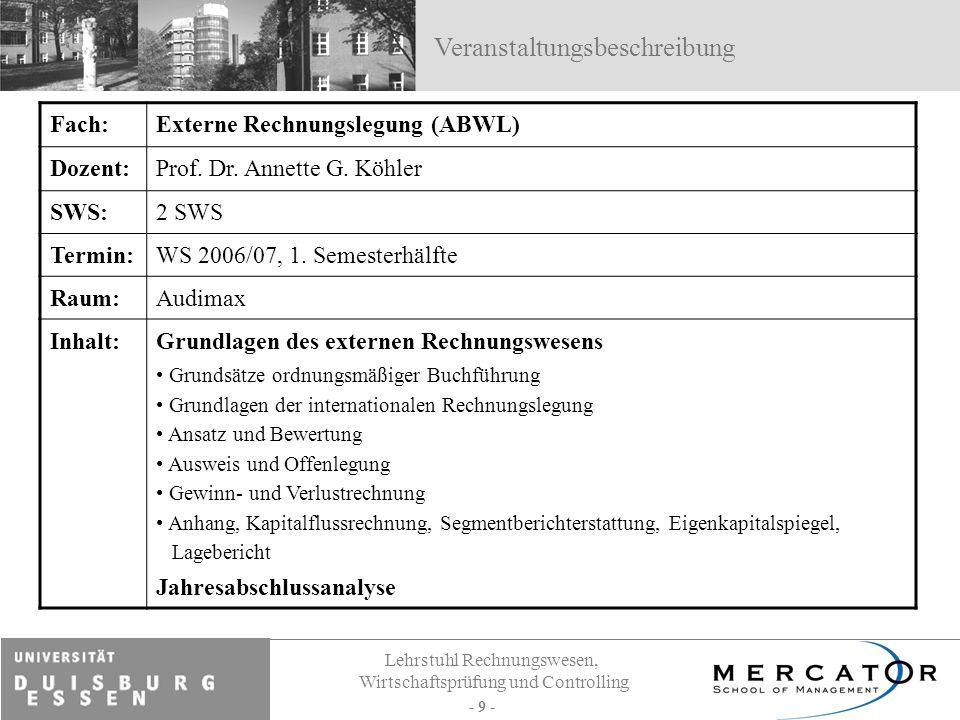 Lehrstuhl Rechnungswesen, Wirtschaftsprüfung und Controlling - 9 - Fach:Externe Rechnungslegung (ABWL) Dozent:Prof. Dr. Annette G. Köhler SWS:2 SWS Te