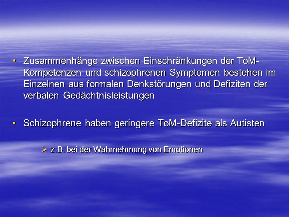 Zusammenhänge zwischen Einschränkungen der ToM- Kompetenzen und schizophrenen Symptomen bestehen im Einzelnen aus formalen Denkstörungen und Defiziten