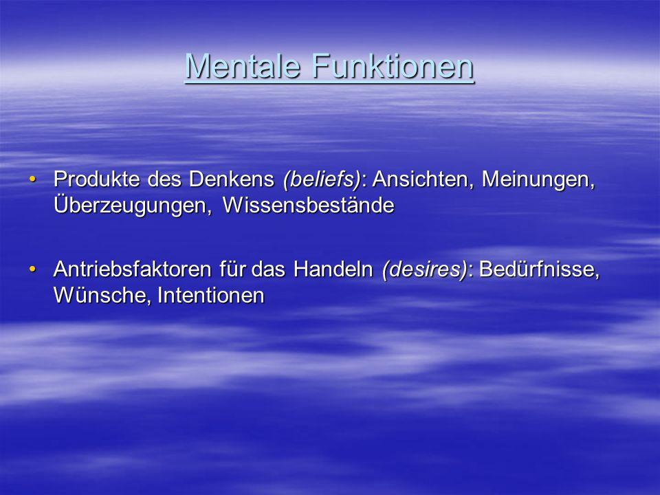 Mentale Funktionen Produkte des Denkens (beliefs): Ansichten, Meinungen, Überzeugungen, WissensbeständeProdukte des Denkens (beliefs): Ansichten, Mein