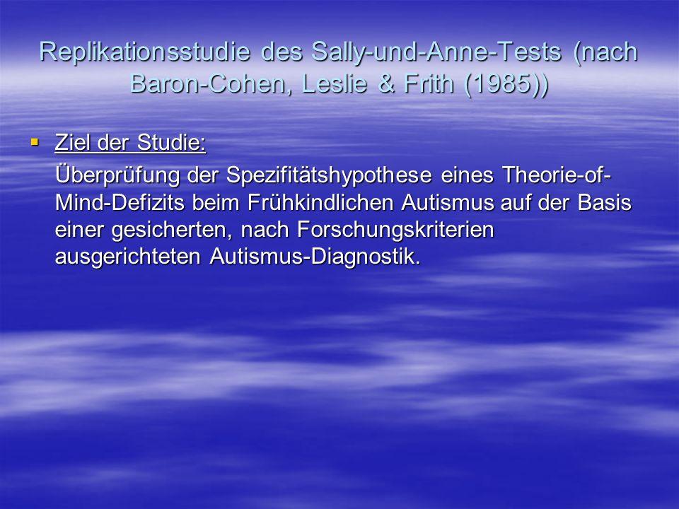 Replikationsstudie des Sally-und-Anne-Tests (nach Baron-Cohen, Leslie & Frith (1985)) Ziel der Studie: Ziel der Studie: Überprüfung der Spezifitätshyp