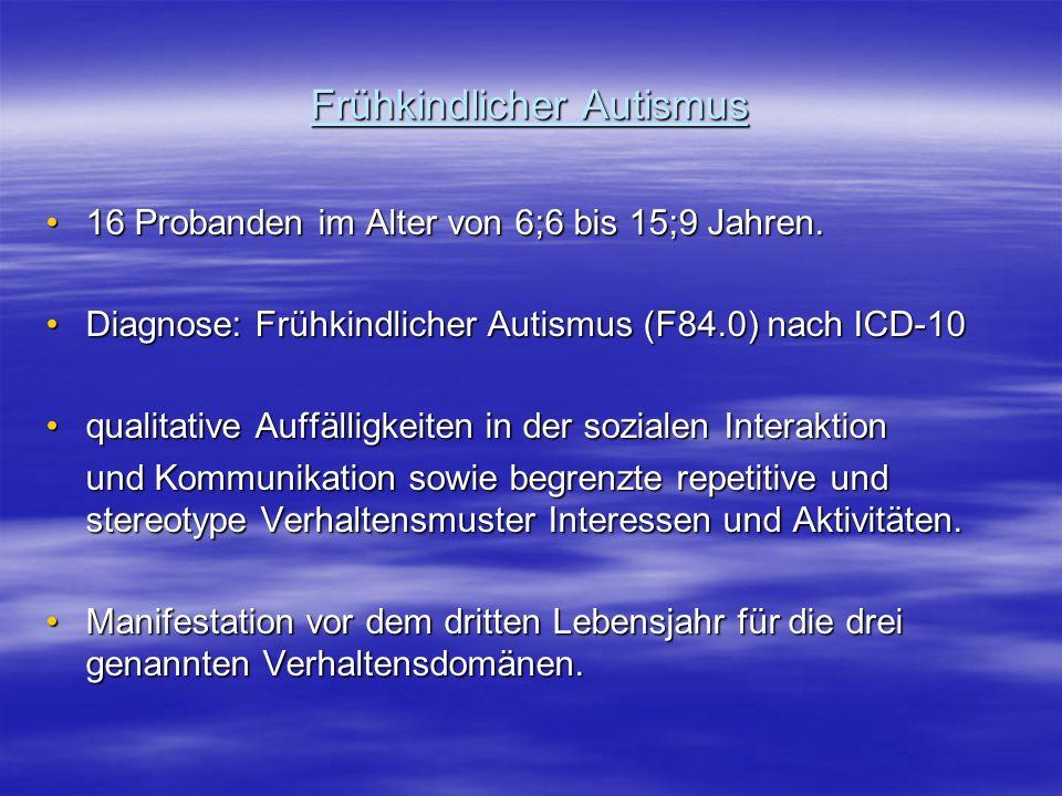 Frühkindlicher Autismus 16 Probanden im Alter von 6;6 bis 15;9 Jahren.16 Probanden im Alter von 6;6 bis 15;9 Jahren. Diagnose: Frühkindlicher Autismus