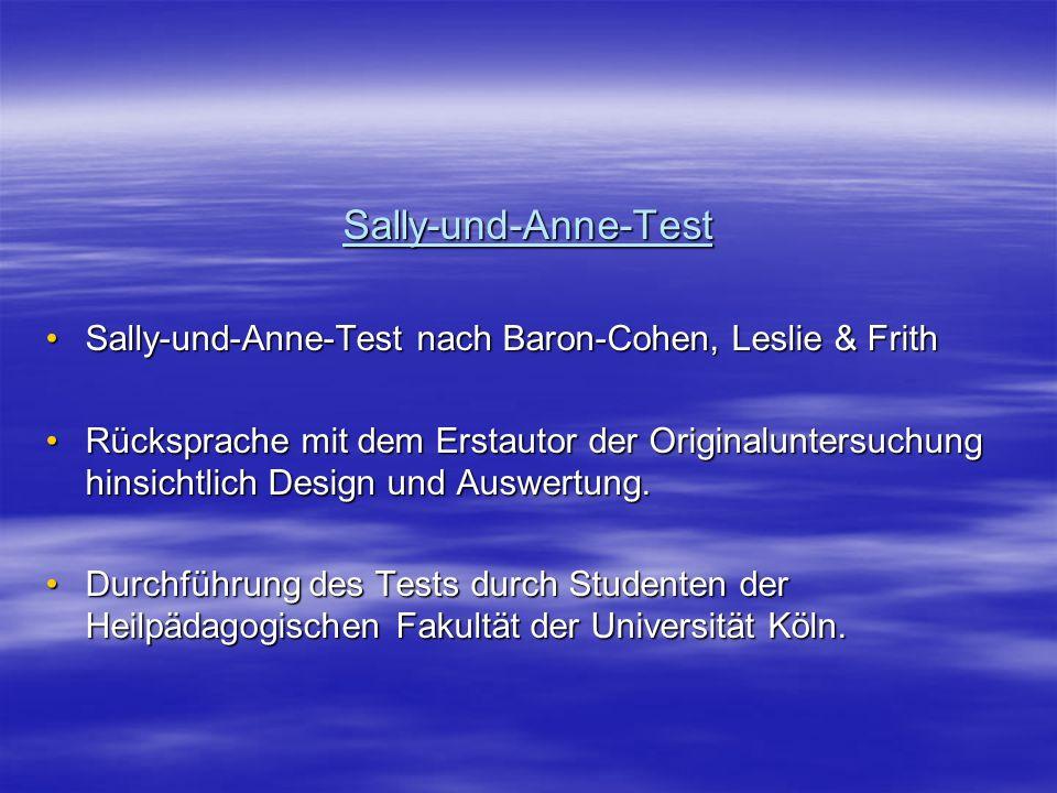 Sally-und-Anne-Test Sally-und-Anne-Test nach Baron-Cohen, Leslie & FrithSally-und-Anne-Test nach Baron-Cohen, Leslie & Frith Rücksprache mit dem Ersta