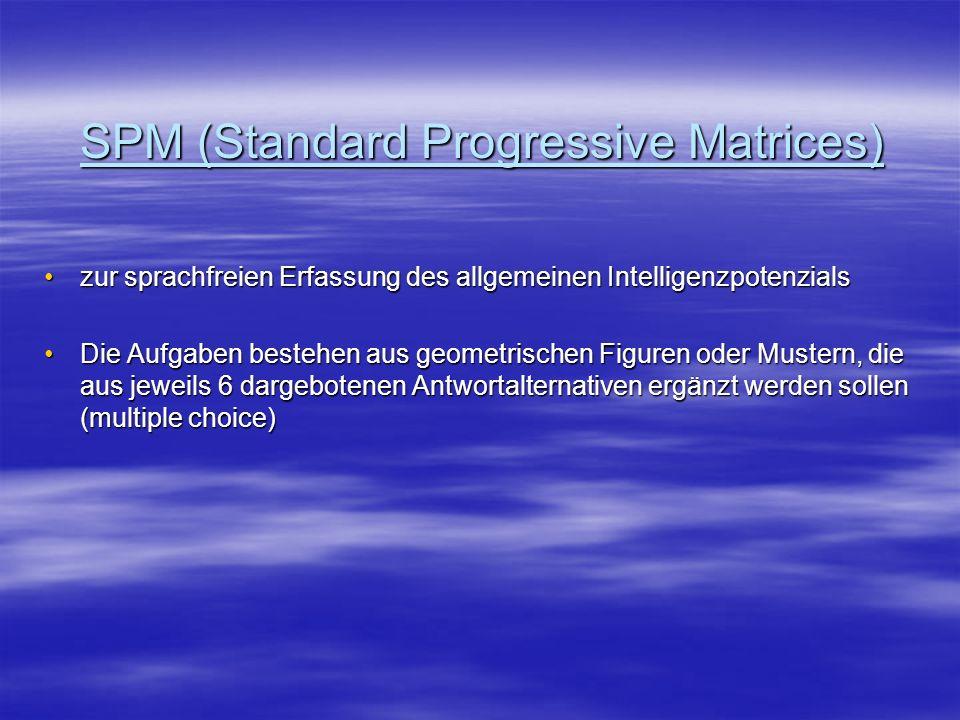 SPM (Standard Progressive Matrices) zur sprachfreien Erfassung des allgemeinen Intelligenzpotenzialszur sprachfreien Erfassung des allgemeinen Intelli