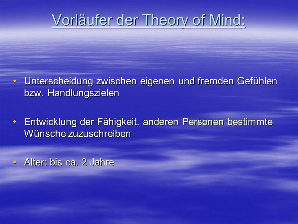 Vorläufer der Theory of Mind: Unterscheidung zwischen eigenen und fremden Gefühlen bzw. HandlungszielenUnterscheidung zwischen eigenen und fremden Gef