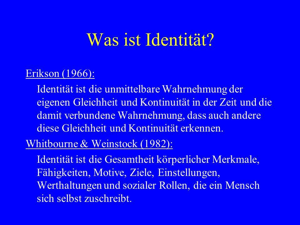 Was ist Identität? Erikson (1966): Identität ist die unmittelbare Wahrnehmung der eigenen Gleichheit und Kontinuität in der Zeit und die damit verbund