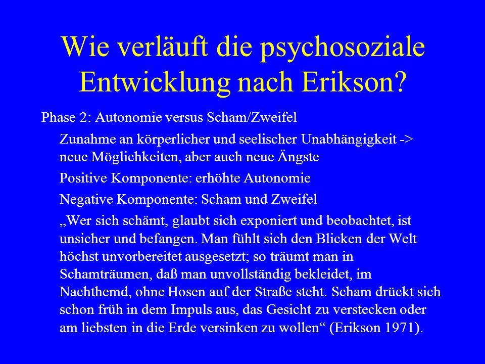 Wie verläuft die psychosoziale Entwicklung nach Erikson? Phase 2: Autonomie versus Scham/Zweifel Zunahme an körperlicher und seelischer Unabhängigkeit