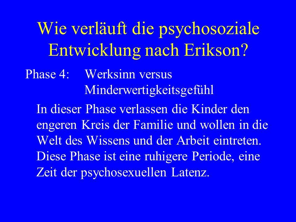 Wie verläuft die psychosoziale Entwicklung nach Erikson? Phase 4:Werksinn versus Minderwertigkeitsgefühl In dieser Phase verlassen die Kinder den enge