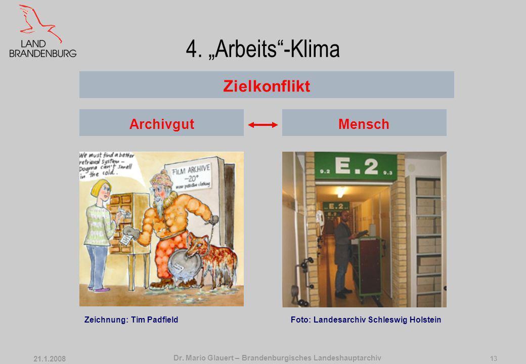 Dr. Mario Glauert – Brandenburgisches Landeshauptarchiv 21.1.2008 12 3. Klimatechnik … so viel wie nötig Klimakonstanz raum- und material- bezogene Kl