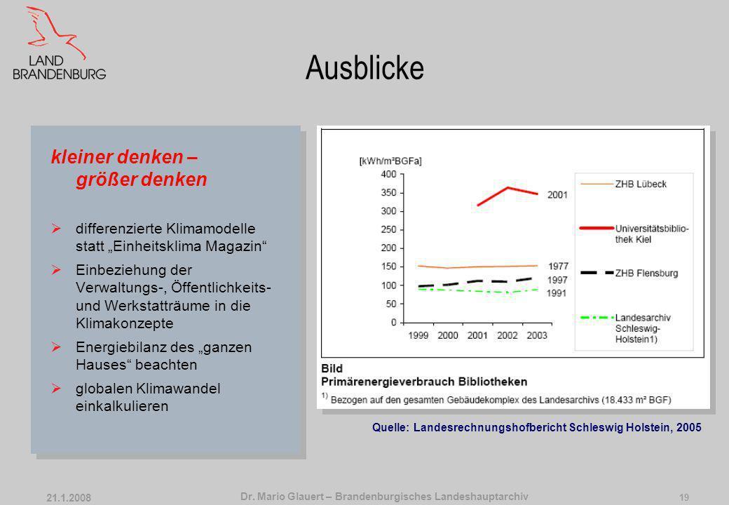 Dr. Mario Glauert – Brandenburgisches Landeshauptarchiv 21.1.2008 18 Ausblicke Anpassung der Archivarbeit an das Magazinklima keine Dauerarbeitsplätze