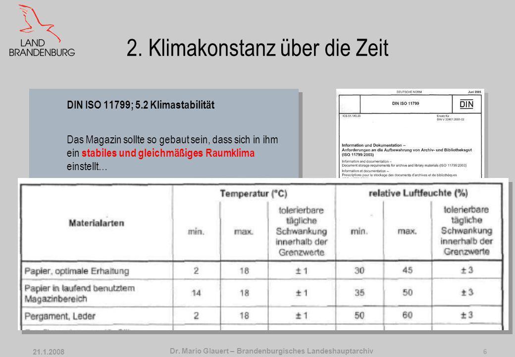 Dr. Mario Glauert – Brandenburgisches Landeshauptarchiv 21.1.2008 5 2. Klimakonstanz über Raum und Zeit DIN ISO 11799; 5.2 Klimastabilität Das Magazin