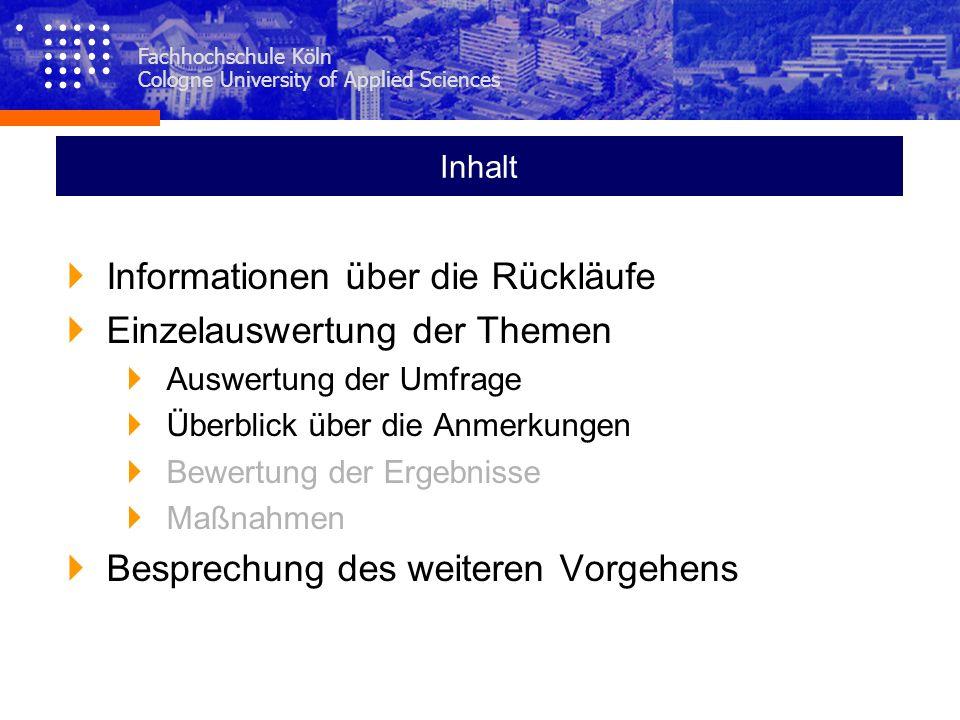 Fachhochschule Köln Cologne University of Applied Sciences Inhalt Informationen über die Rückläufe Einzelauswertung der Themen Auswertung der Umfrage