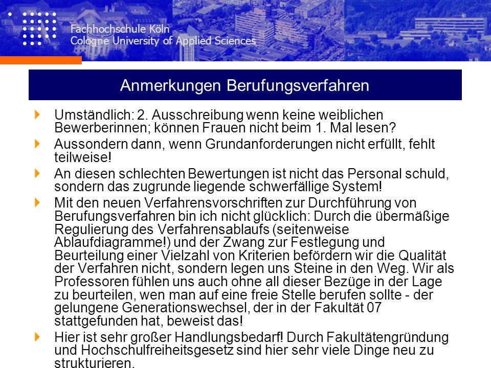 Fachhochschule Köln Cologne University of Applied Sciences Anmerkungen Berufungsverfahren Umständlich: 2. Ausschreibung wenn keine weiblichen Bewerber