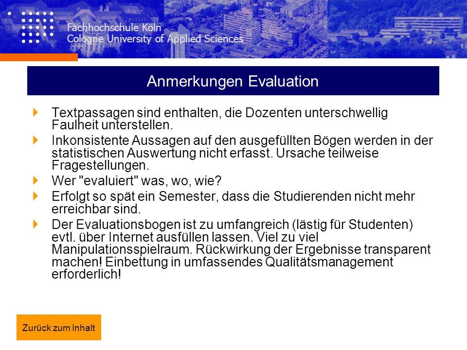 Fachhochschule Köln Cologne University of Applied Sciences Anmerkungen Evaluation Textpassagen sind enthalten, die Dozenten unterschwellig Faulheit un