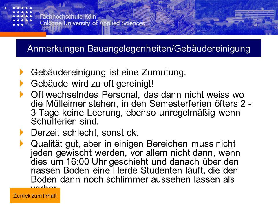 Fachhochschule Köln Cologne University of Applied Sciences Anmerkungen Bauangelegenheiten/Gebäudereinigung Gebäudereinigung ist eine Zumutung. Gebäude
