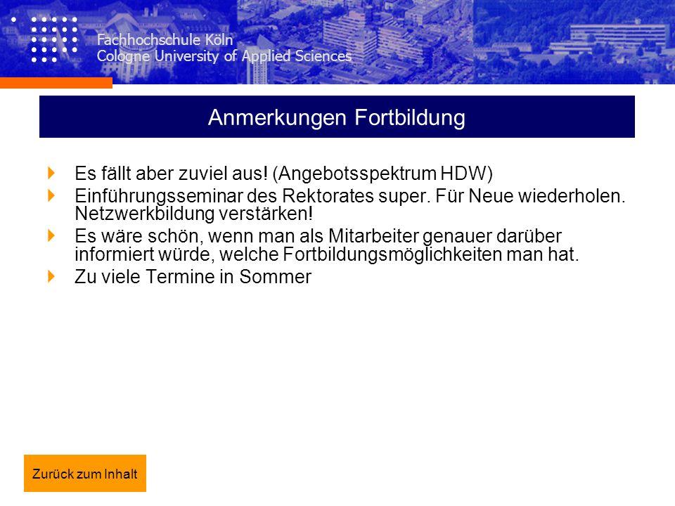 Fachhochschule Köln Cologne University of Applied Sciences Anmerkungen Fortbildung Es fällt aber zuviel aus! (Angebotsspektrum HDW) Einführungsseminar