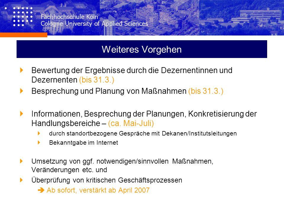 Fachhochschule Köln Cologne University of Applied Sciences Weiteres Vorgehen Bewertung der Ergebnisse durch die Dezernentinnen und Dezernenten (bis 31