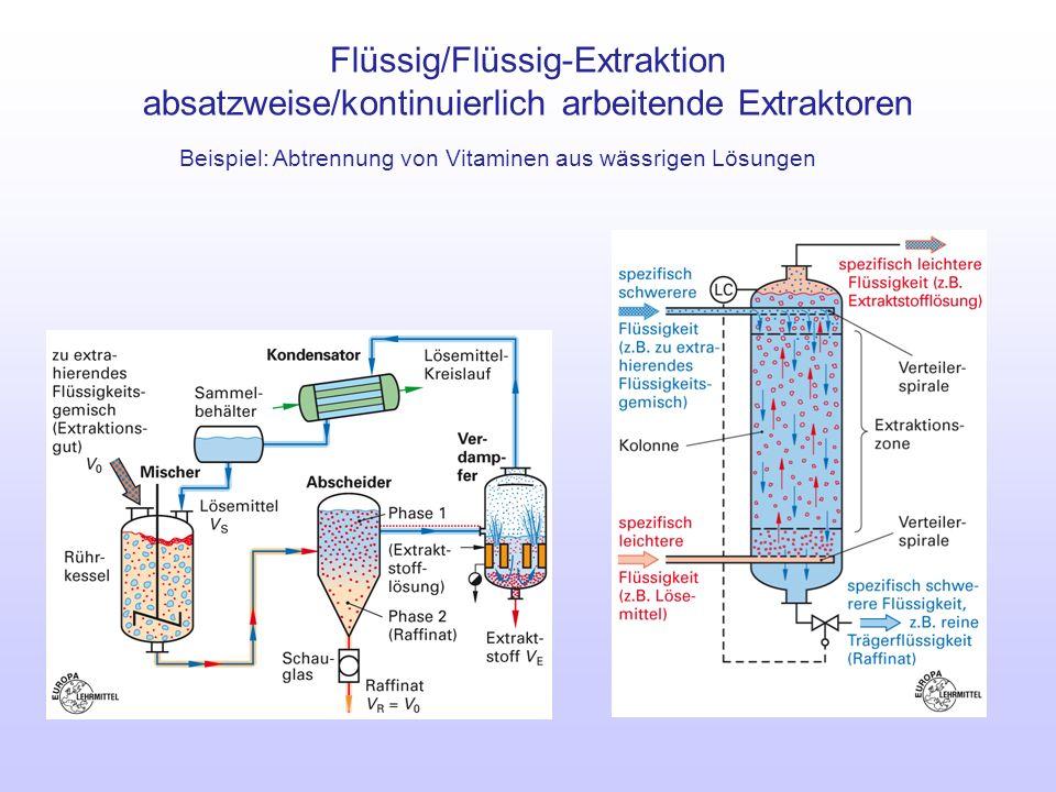 Flüssig/Flüssig-Extraktion absatzweise/kontinuierlich arbeitende Extraktoren Beispiel: Abtrennung von Vitaminen aus wässrigen Lösungen