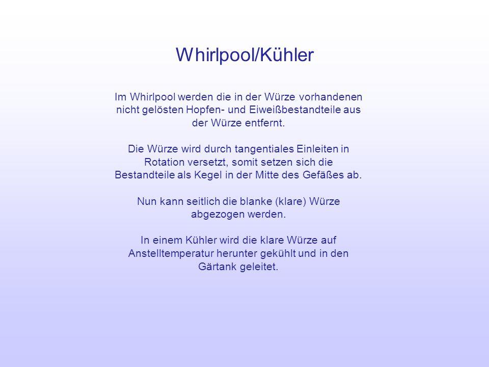 Whirlpool/Kühler Im Whirlpool werden die in der Würze vorhandenen nicht gelösten Hopfen- und Eiweißbestandteile aus der Würze entfernt. Die Würze wird