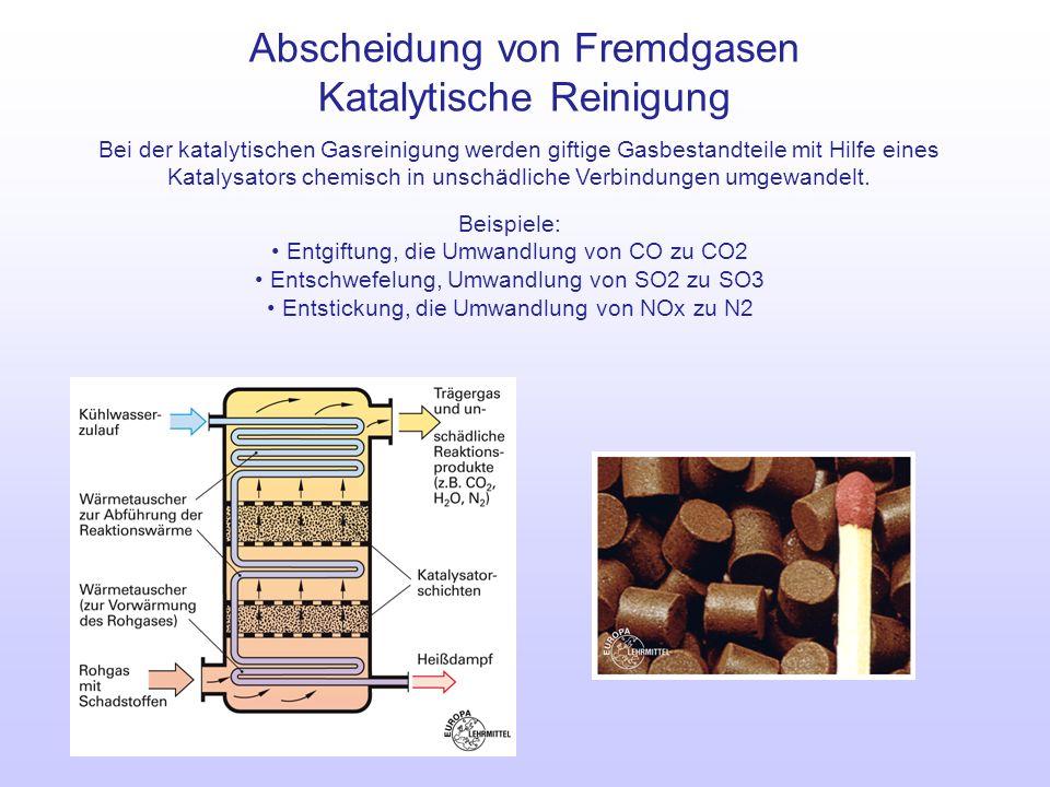 Abscheidung von Fremdgasen Katalytische Reinigung Bei der katalytischen Gasreinigung werden giftige Gasbestandteile mit Hilfe eines Katalysators chemi