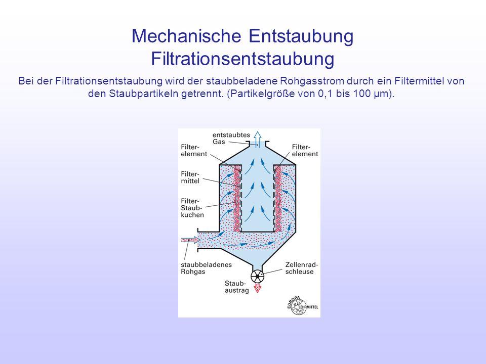 Mechanische Entstaubung Filtrationsentstaubung Bei der Filtrationsentstaubung wird der staubbeladene Rohgasstrom durch ein Filtermittel von den Staubp