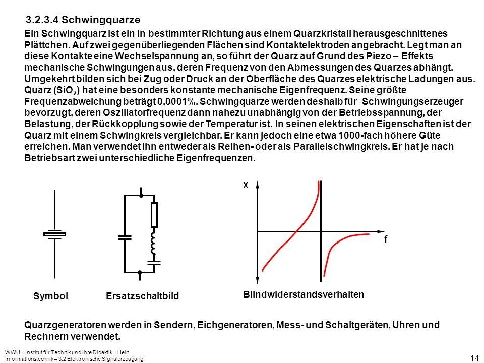 WWU – Institut für Technik und ihre Didaktik – Hein Informationstechnik – 3.2 Elektronische Signalerzeugung 14 3.2.3.4 Schwingquarze Ein Schwingquarz