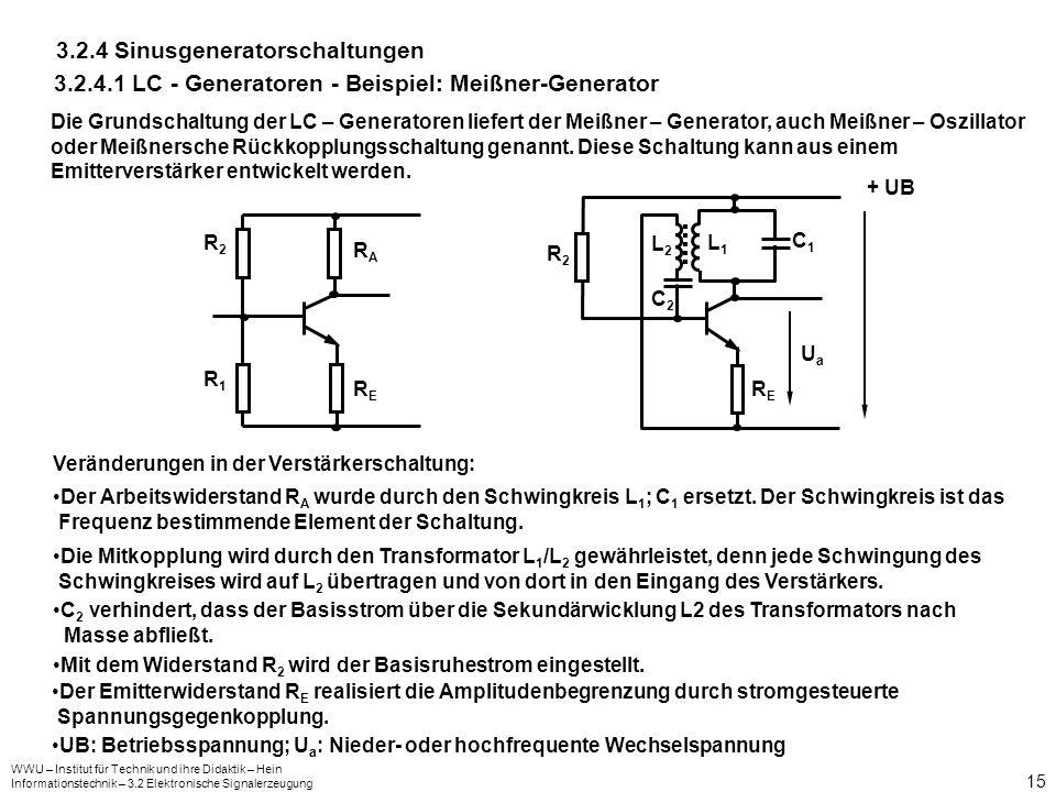 WWU – Institut für Technik und ihre Didaktik – Hein Informationstechnik – 3.2 Elektronische Signalerzeugung 15 3.2.4 Sinusgeneratorschaltungen 3.2.4.1