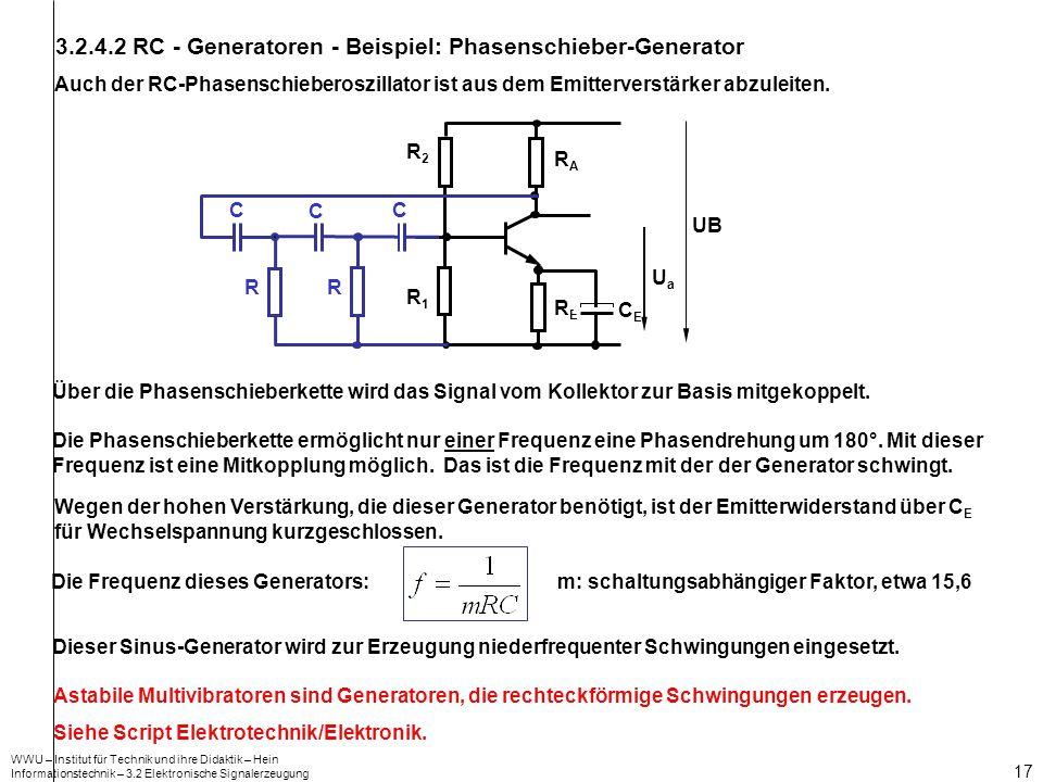 WWU – Institut für Technik und ihre Didaktik – Hein Informationstechnik – 3.2 Elektronische Signalerzeugung 17 3.2.4.2 RC - Generatoren - Beispiel: Ph