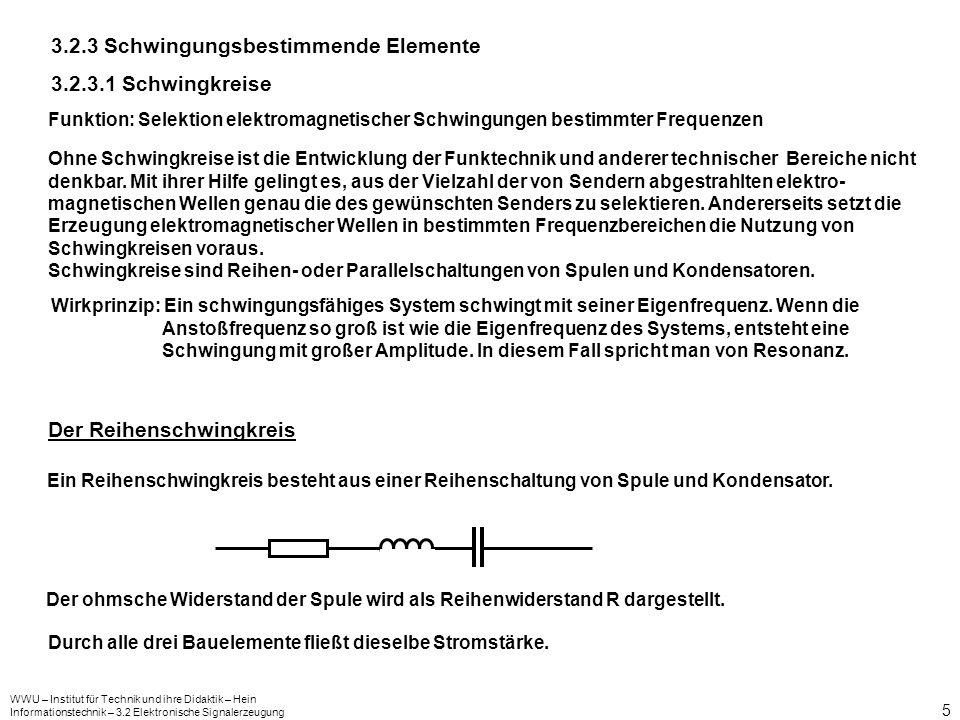 WWU – Institut für Technik und ihre Didaktik – Hein Informationstechnik – 3.2 Elektronische Signalerzeugung 5 3.2.3 Schwingungsbestimmende Elemente 3.