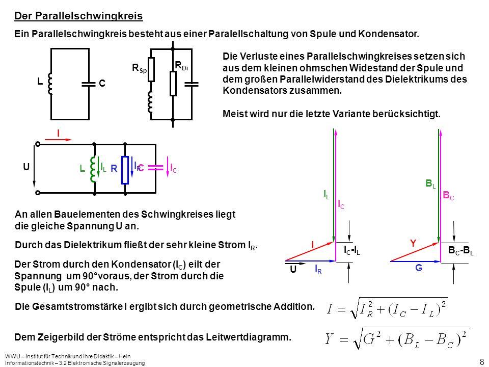 WWU – Institut für Technik und ihre Didaktik – Hein Informationstechnik – 3.2 Elektronische Signalerzeugung 9 Bei sehr niedrigen Frequenzen wirkt die Spule fast als Kurzschluss, bei hohen Frequenzen zeigt der Kondensator diese Wirkung.