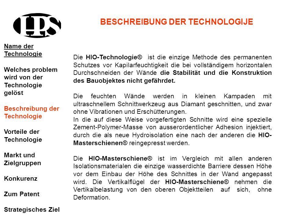 Die HIO-Technologie® ist die einzige Methode des permanenten Schutzes vor Kapilarfeuchtigkeit die bei vollständigem horizontalen Durchschneiden der Wä