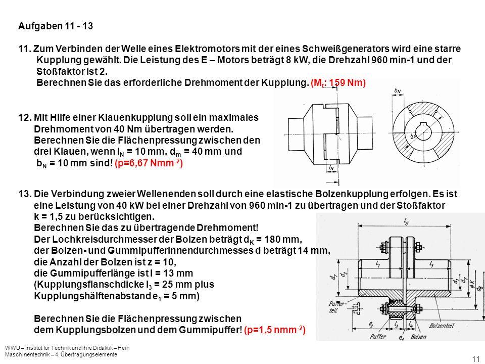WWU – Institut für Technik und ihre Didaktik – Hein Maschinentechnik – 4. Übertragungselemente 11 13. Die Verbindung zweier Wellenenden soll durch ein
