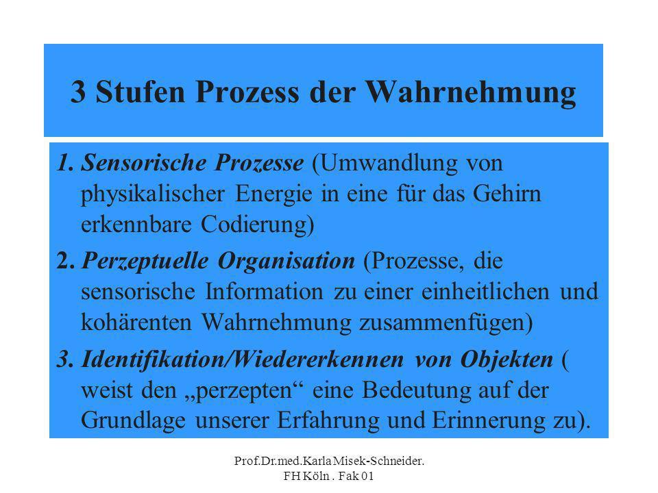Prof.Dr.med.Karla Misek-Schneider.FH Köln. Fak 01 3 Stufen Prozess der Wahrnehmung 1.
