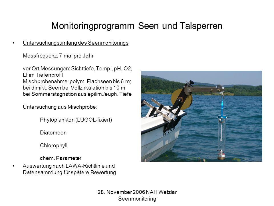 28. November 2006 NAH Wetzlar Seenmonitoring Monitoringprogramm Seen und Talsperren Untersuchungsumfang des Seenmonitorings Messfrequenz: 7 mal pro Ja