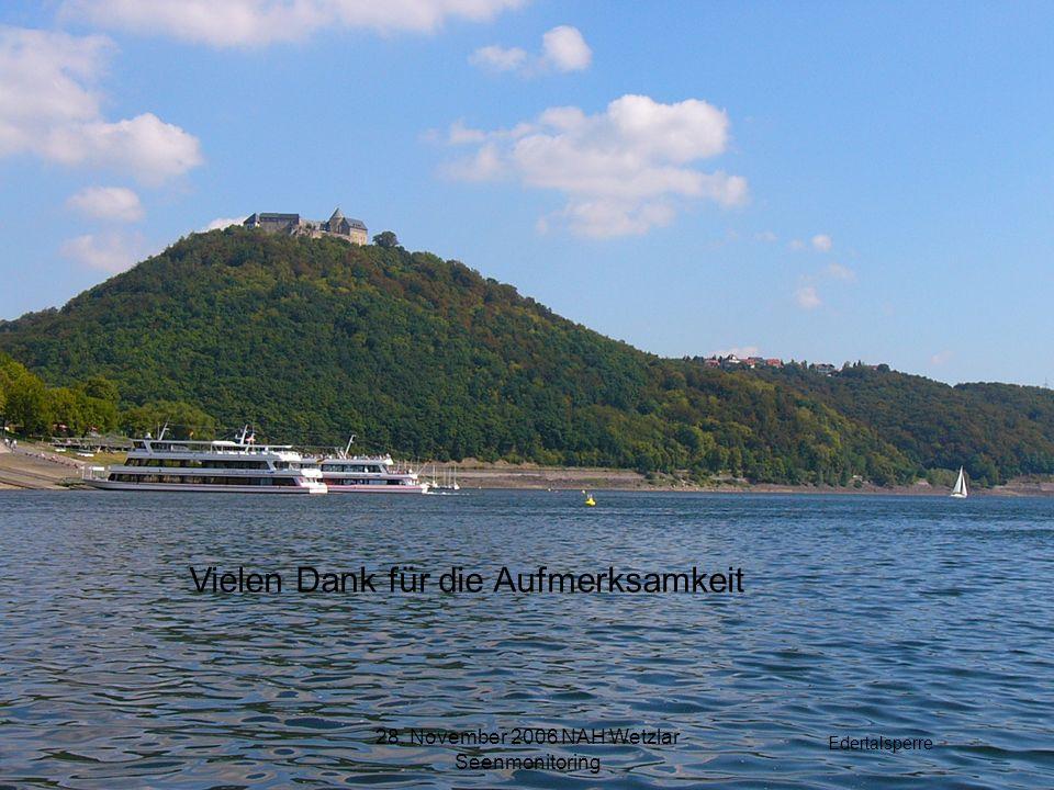 28. November 2006 NAH Wetzlar Seenmonitoring Vielen Dank für die Aufmerksamkeit Edertalsperre
