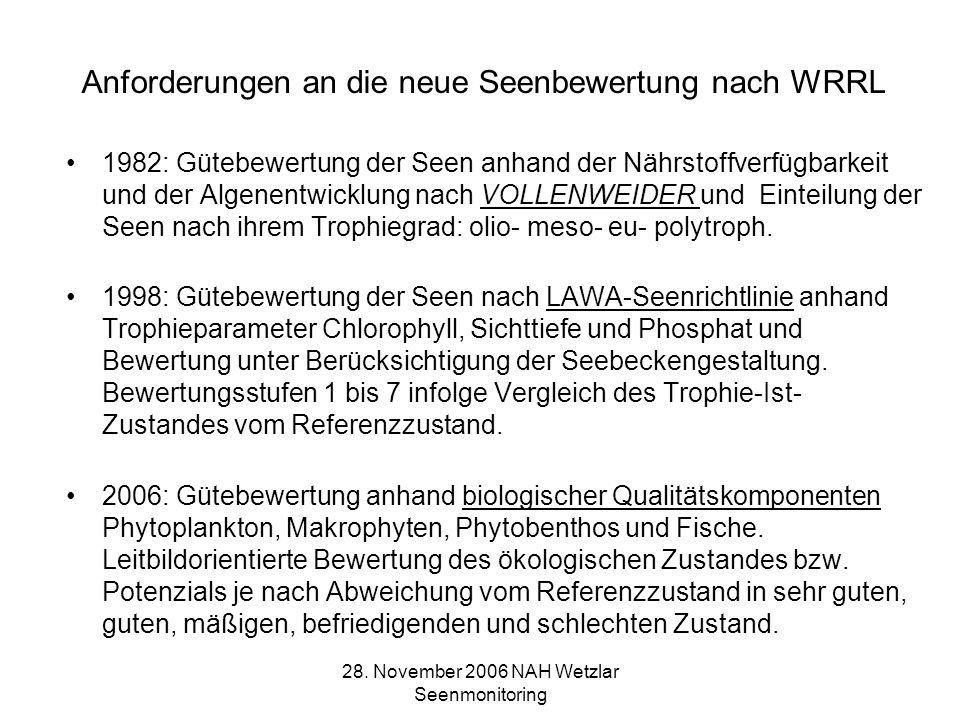 28. November 2006 NAH Wetzlar Seenmonitoring Anforderungen an die neue Seenbewertung nach WRRL 1982: Gütebewertung der Seen anhand der Nährstoffverfüg