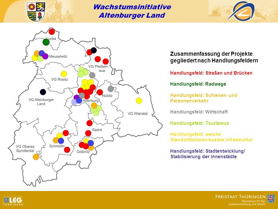 Wachstumsinitiative Altenburger Land Zusammenfassung der Projekte gegliedert nach Handlungsfeldern Handlungsfeld: Straßen und Brücken Handlungsfeld: R