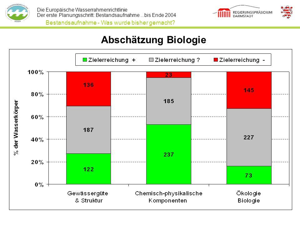 Die Europäische Wasserrahmenrichtlinie Der erste Planungsschritt: Bestandsaufnahme...bis Ende 2004 Abschätzung Biologie Bestandsaufnahme - Was wurde b