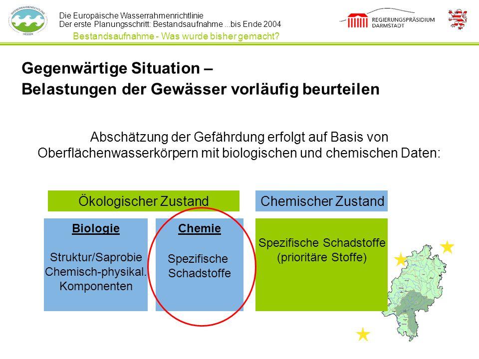 Die Europäische Wasserrahmenrichtlinie Der erste Planungsschritt: Bestandsaufnahme...bis Ende 2004 Abschätzung der Gefährdung erfolgt auf Basis von Ob